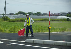 Japan road worker Japan Totori 10.08.2017 Stock Images