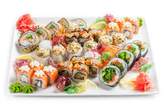 Japan Roll allsorts on a plate.  royalty free stock photo