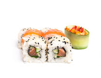 Japan rolls. Some sushi rolls on the white background Stock Images