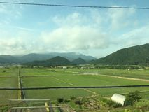 Japan, rural countryside near Tokyo. As seen from the train royalty free stock photos