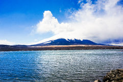Japan's Fuji mountain. Fuji hill is a volcano, is a world famous tourist area Royalty Free Stock Image