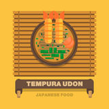 Japan's national dishes,Tempura Udon - Vector flat design Royalty Free Stock Photo