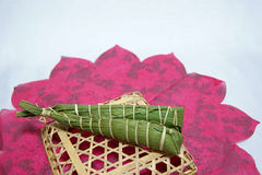Japan's traditional celebration: rice cakes  wrapped in leaves of bamboo on the Children's day Royalty Free Stock Photos