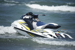 Japan's Yamaha jet ski. Japan's Yamaha jet ski parked in the waves. Photograph on April 13, 2014 in Hsinchu, Taiwan Royalty Free Stock Photo