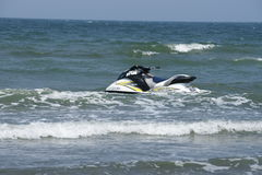 Japan's Yamaha jet ski. Japan's Yamaha jet ski parked in the waves. Photograph on April 13, 2014 in Hsinchu, Taiwan Stock Image