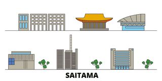 Japan, Saitama flat landmarks vector illustration. Japan, Saitama line city with famous travel sights, skyline, design. Japan, Saitama flat landmarks vector vector illustration