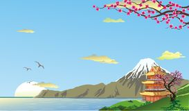 Japan sakura vektor illustrationer