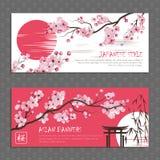 Japan Sakura Horizontal Banners Set Royalty Free Stock Images
