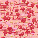 Japan Sakura red line horizontal style seamless pattern. This illustration is design and drawing Japanese style with Sakura flower and red line horizontal in Stock Photo