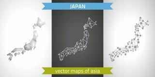 Japan-Sammlung der modernen Karten-, Grauer und Schwarzer und silbernerdes punktkonturn-Mosaiks 3d Karte des Vektordesigns Lizenzfreie Stockfotografie