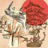 Japan. Samurai rhino. An hand drawn vector picture. Line art ill Stock Photo