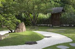 Japanese zen garden with sand backyard royalty free stock image