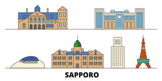 Japan, Sapporo flat landmarks vector illustration. Japan, Sapporo line city with famous travel sights, skyline, design. Japan, Sapporo flat landmarks vector vector illustration