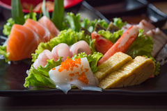 Japan sashimi set. Close up of japanse food call sashimi made from fresh seafood in local japanese restuarant tokyo japan Stock Image