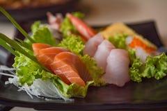 Japan sashimi set. Close up of japanse food call sashimi made from fresh seafood in local japanese restuarant tokyo japan Stock Photography