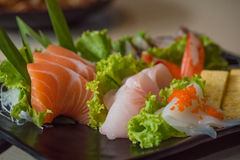 Japan sashimi set. Close up of japanse food call sashimi made from fresh seafood in local japanese restuarant tokyo japan Stock Photography