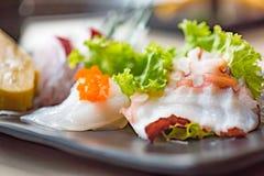 Japan sashimi set. Close up of japanse food call sashimi made from fresh seafood in local japanese restuarant tokyo japan Royalty Free Stock Image