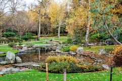 Holland Park, one of public London parks. Japanеse garden Kyoto in Holland Park, one of public London parks. The garden is a gift from the Kyoto Chamber of Stock Image