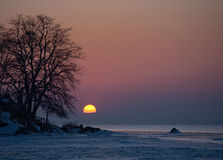 Japan sea sunset. Near Vladivostok, Russia, Far-East. Winter Royalty Free Stock Photography