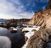 Japan sea in winter. Near Vladivostok, Russia, Far-East. Winter Stock Photography