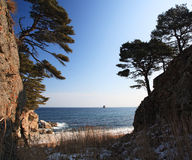 Japan sea in winter. Near Vladivostok, Russia, Far-East. Winter royalty free stock image