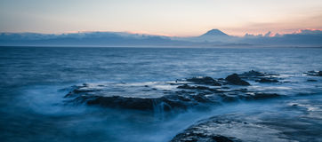 Japan seacape coastline and Mt. Fuji. In beautiful sunset Royalty Free Stock Image