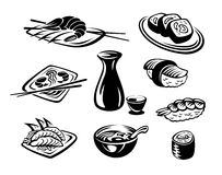 Japan seafood. Japan restaurant seafood set isolated on white background Stock Photos