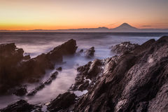 Japan seascape och Mt fuji mt solnedgång Royaltyfri Fotografi