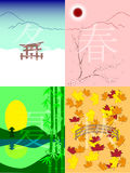 Japan seasons. Vector seasons in japanese style Stock Photo