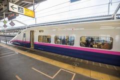 Japan shinkansen bullet train. Koriyama, Japan - October 20, 2017 : Shinkansen E2 Series High speed train at Koriyama station,Operated by JR East for Tohoku Stock Photos