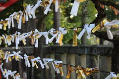 Japan Shinto Shrine Hanger 1. Strings in a Japanese Shinto shrine where people tie their fortune-telling paper in Inuyama, Japan Royalty Free Stock Photography