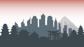 Japan silhouette architecture buildings town city country travel Royalty Free Stock Photo