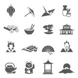 Japan Silhouette Flat Icon Set Royalty Free Stock Photo