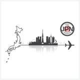 Japan Skyline Buildings Silhouette Background Stock Photos