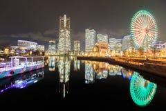 Japan skyline at Minato Mirai waterfront district and reflectio. Yokohama night scene, Japan skyline at Minato Mirai waterfront district and reflection Royalty Free Stock Image