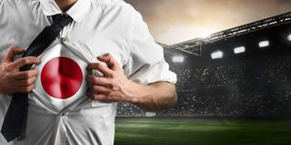 Japan soccer or football supporter showing flag Stock Image