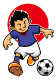Japan soccer player with flag background Stock Photos