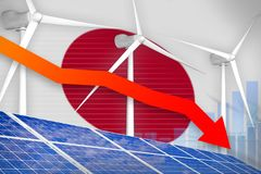 Japan solar and wind energy lowering chart, arrow down - alternative natural energy industrial illustration. 3D Illustration. Japan solar and wind energy royalty free illustration