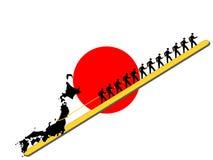 japan som drar arbetare stock illustrationer