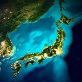 Japan space map. Elements of this image furnished by NASA. 3d rendering royalty free illustration