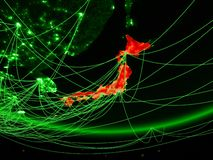 Japan from space with network vector illustration