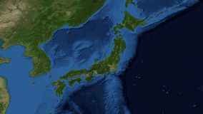 Japan from space slow zoom. Japan is an island nation in East Asia. Located in the Pacific Ocean, it lies to the east of the Sea of Japan. Video composite from royalty free illustration