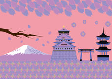 Japan Spring Landmark and Culture Vector Royalty Free Stock Photo