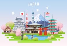 Japan spring travel infographic. Stock Image