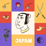 Japan Squared Vector Concept with Doodles Royalty Free Stock Photography