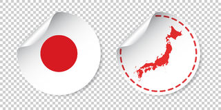 Japan sticker with flag and map. Label, round tag with country. Royalty Free Stock Photos