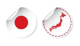 Japan sticker with flag and map. Label, round tag with country. Stock Image