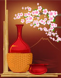 Japan stillife with flowers Royalty Free Stock Photo