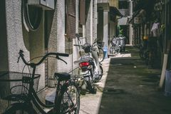 Japan street food alley bicycles royalty free stock photos