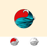 Japan Style Abstract Ocean Water Logo Royalty Free Stock Images